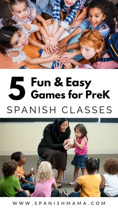 Fun games for Spanish preschool and elementary classes! These simple games are easy to play and keep all your students engaged in Spanish class. Language Games For Kids, Spanish Games For Kids, Preschool Spanish, Preschool Class, Preschool Games, Spanish Classroom, Teaching Spanish, Spanish Activities, Spanish Teacher