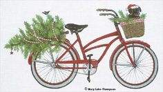 Melissa Shirley Designs | Hand Painted Needlepoint | Christmas Bike © Mary Lake Thompson