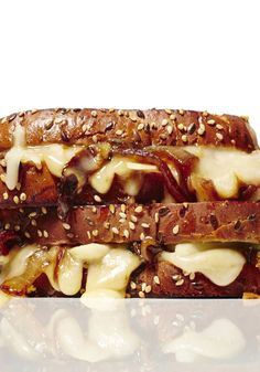 """The Gouda Cheese with Balsamic, Onion and Pear grilled-cheese sandwich. It's a triple threat: smoky (thanks to the Gouda), tart (hello, balsamic vinegar) and marvelously crispy. Its creator, Daphne Oz, slathers the bread with mayonnaise instead of butter, """"which gives an insanely crunchy, golden brown crust to the bread, with the faintest hint of sweetness."""""""