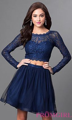 Two-Piece Lace-Top Long-Sleeve Homecoming Dress at PromGirl.com