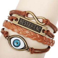 Best Friend Eye Jewelry Hemp Rope Antique Leather Pendant Bracelet Features: New and high quality Material : Genuine Leather & Hemp rope Quantity : 1 p Leather Charm Bracelets, Cute Bracelets, Fashion Bracelets, Infinity Bracelets, Bangles, Ankle Bracelets, Jewelry Bracelets, Fashion Jewelry, Good Luck Bracelet