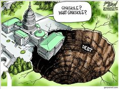 This political cartoon brings up the issue of debt going on in American. It symbolizes that as a nation we are sinking into a larger hole of debt. The cracks surrounding the hole representing the cracks in our government creating this great big issue. This cartoon achieves political irony by using the persuasive technique of exaggeration through the size of the hole in the photo and the building hanging over the edge. It also displays irony.