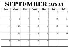 September 2021 Calendar PDF Printable Templates Blank Calendar Pages, Calendar 2019 Printable, Calendar Layout, Monthly Planner Printable, Printable Calendar Template, Kids Calendar, 2021 Calendar, Printable Designs, Printables