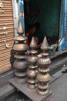 The brass and copper market, Calcutta.