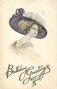 glamorous woman in large decorated hat, single rose corsage, faces right, looks front Vintage Greeting Cards, Vintage Ephemera, Vintage Postcards, Vintage Images, Vintage Crafts, Vintage Art, Vintage Ladies, Victorian Hats, Victorian Ladies