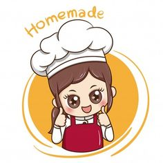 Illustrator of Female Chef cartoon , Food Graphic Design, Food Logo Design, Logo Food, Baking Logo Design, Cake Logo Design, Cartoon Chef, Cartoon Logo, Logo Chef, Logo Service