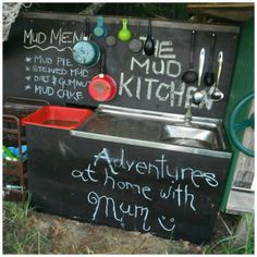 Mud kitchen! How much mess could they possibly make? !? Recycle old pots & pans, utensils, baking trays and just add plenty of mud. Home Design, Diy Mud Kitchen, Kitchen Ideas, Pie Kitchen, Kitchen Decor, Outdoor Play Spaces, Outdoor Fun, Outdoor Ideas, Pretend Play Kitchen