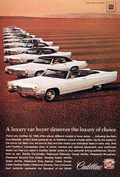 1968 Cadillac Line vintage ad. Features from front to back: DeVille Convertible, Fleetwood Eldorado, Coupe deVille, Fleetwood Brougham, Fleetwood Seventy Five, Hardtop Sedan DeVille, Sedan DeVille, Fleetwood Sixty Special, Calais Coupe & Sedan, and the Fleetwood Seventy Five Limousine.