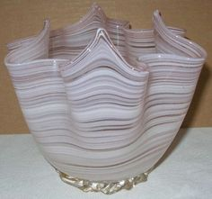 Elegant MURANO Glass FAZZOLETTO VASE Vintage & LABEL Pale PINK Gold Dust RIGAREE