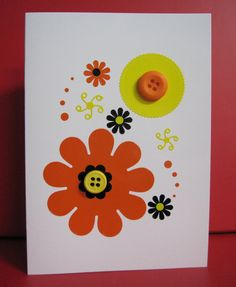 Handmade Card Any Occasion with abstract orange and yellow design