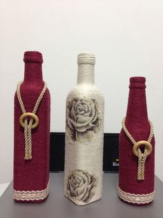 Learn to Make Beautiful Decorations with Bottles - School seams Empty Wine Bottles, Wine Bottle Art, Diy Bottle, Recycled Bottles, Bottle Vase, Bottles And Jars, Glass Bottles, Jar Crafts, Decor Crafts