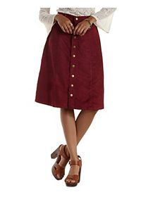 Button-Up Faux Suede Midi Skirt