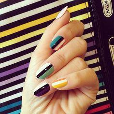 Striped Madness #nails #nailart #colorfulnails #polish - bellashoot.com