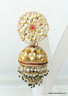 BOXES Vintage antique 22 carat Gold earring pair jhumki from Rajasthan India. Beautiful design sated Diamond polki stones in it. Attached pearl and other beads in bottom loops.