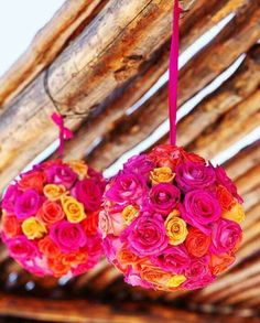 Easy beautiful floral piece! Buy a styrofoam craft ball from Michaels and trim down roses to stick in to cover the ball!