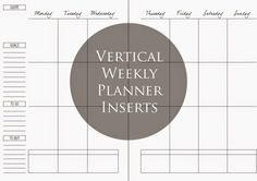 Simple Vertical Weekly Layout Inserts via Weekly Planner Printable, Free Planner, Planner Template, Planner Inserts, Planner Pages, Happy Planner, Planner Layout, Planner Ideas, Planner Diy