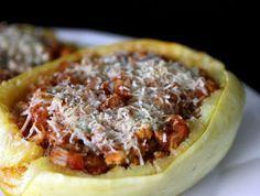 Italian stuffed spaghetti squash. Make this with a white sauce instead