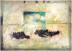 "Skot Foreman Gallery Macuria (Merc) Montolanez ""Homage I"" 2001 Encaustic, oil, graphite & varnish on Belgian linen 42 x 60 in 107 x 152 cm Hand-signed ""Macuria lower right corner Fine Art Gallery, Surrealism, Pop Art, Street Art, Abstract, Expressionism, Graphite, Artwork, Artist"