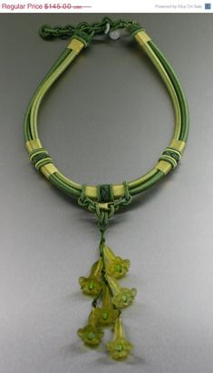 ON SALE Lime Green Chinese Knotted Necklace  by johnsbrana on Etsy, $58.00