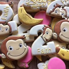 Curious George cookies for a 2nd birthday! #casebakes #clearlaketx #clearlakecity #clearlakecookies #pearland #friendswood #leaguecity #curiousgeorgecookies #curiousgeorge #birthday #curiousgeorgeparty
