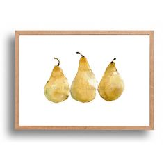 Pears art print, kitchen art, yellow pears art print, still life,... ($12) ❤ liked on Polyvore featuring home, home decor, wall art, pear wall art, yellow home decor, yellow home accessories and yellow wall art