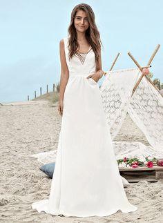 Robes de mariée - $169.08 - Forme Princesse Col V Traîne Balayage/Pinceau Charmeuse Robe de mariée avec Dentelle (0025123406)