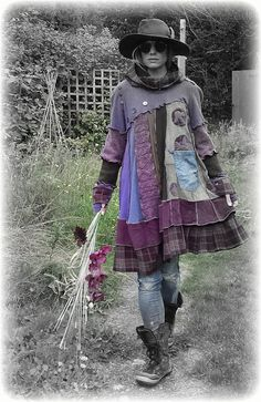 JUNIPER * Flower Smock Boho Jumper Sweater Dress Snood Hood Thumbhole Sleeves Buttons ReCyCleD UpCyCleD Wearable Art Size: Medium / XX-Large