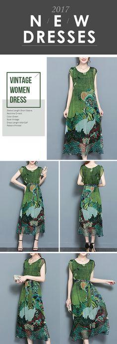 US$33.97 Gracila Women Vintage Printed Short Sleeve Mid-Long Dresses