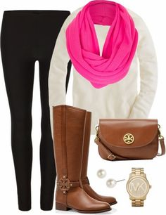 White sweater, black leggings, pink scarf, long brown boots and hand bag