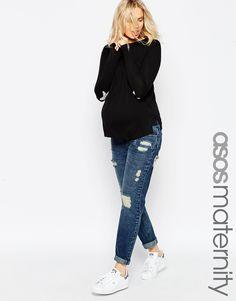 Image 1 ofASOS Maternity Brady Boyfriend Jeans With Under The Bump Waistband