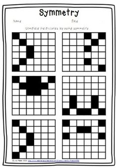 This is a fun symmetry worksheet. Complete the blocks to create a symmetrical pattern. Common Core Aligned: Have fun teaching! Symmetry Worksheets, Symmetry Activities, Math Worksheets, Math Resources, Math Activities, Fourth Grade Math, Second Grade Math, Math Workshop, Math Concepts
