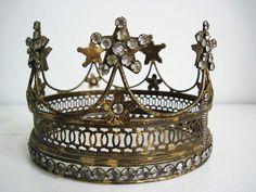 "French Star Drape Crown, Santos Statue Crown w/Clear Rhinestones - Sz Med 6.5"""