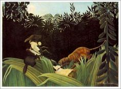 「タイガーに襲われたスカウト」  1904年 原画サイズ(120.5×162cm)   所蔵:バーンズ財団
