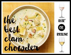 "Say ""Hello!"" to the one of the most rich soups. Piping hot clam chowder. This #NationalSoupMonth recipe is by @TheNewYorkTimes.  #WinterRecipes #Winepairings  http://cooking.nytimes.com/recipes/1016717-the-best-clam-chowder   Would you uncork a bottle of sweet Riesling or floral Rose'?"