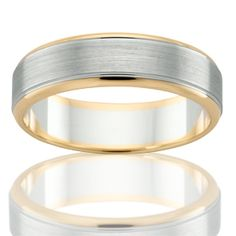 18 carat white and yellow gold gents band with a brushed and polished finish, by Peter Beck Gents Ring, Bangles, Bracelets, Diamond Jewelry, Wedding Bands, Fine Jewelry, Engagement Rings, Jewels, Gold