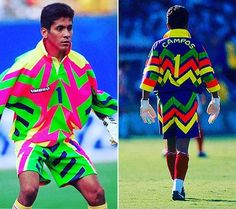 Jorge Campos wore some cracking goalkeeper kits in the Soccer Tips, Soccer Games, Football Kits, Football Match, Football Soccer, Pumas, World Cup Kits, Goalkeeper Kits, Cycling Hat