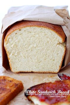 White sandwich bread from Roxanashomebaking.com Soft and fluffy, with a yellowish crumb and a chewy crust, this bread it perfect for Pb&J or...