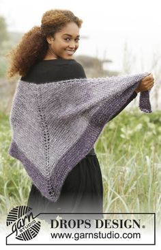 Get the Point by DROPS Design. Shawl in Kid-Silk. Free #knitting pattern