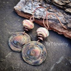 Sweet Peach Lampwork Earrings Invicti Polymer Clay by YaYJewelry