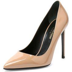 Saint Laurent Paris Patent Leather Pump (44.660 RUB) ❤ liked on Polyvore featuring shoes, pumps, heels, sapatos, high heels, nude, nude heel shoes, nude patent leather pumps, nude high heel shoes and nude high heel pumps