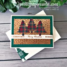 Handmade Christmas card using the Pine Tree Punch and Wrapped in Plaid paper from Stampin\' Up! by Peggy Noe of Pretty Paper Cards Homemade Christmas Cards, Christmas Mom, Christmas Cards To Make, Christmas Greeting Cards, Handmade Christmas, Holiday Cards, Christmas Trees, Center Step Cards, Embossed Cards