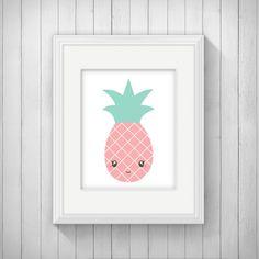 Pink Pineapple Nursery Wall Art Printable by INVITEDbyAudriana