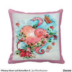 Whimsy Heart and Butterflies Pillow