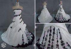 Robe de mariée/soirée organza + tulle blanc/noir Vêtements Dordogne - leboncoin.fr