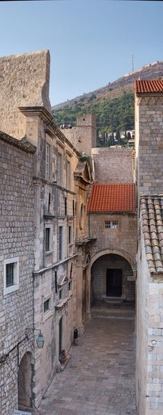 Dubrovnik Vertical HDR panorama of a street of old town. The main difficulty is to wait for all the tourist to leave. Well, one is okay I guess. Montenegro, Places Around The World, Around The Worlds, Monuments, Croatia Travel, Central Europe, Macedonia, Where To Go, Night Life