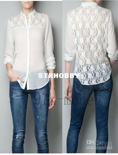 Newly Korean Women Turndown Collar Lace Patchwork Button Down Shirt Blouse Tops White Dress Summer, Chiffon Shirt, Lace Chiffon, Look Chic, Shirt Blouses, Sexy Dresses, Blouse Designs, Long Sleeve Tops, Couture