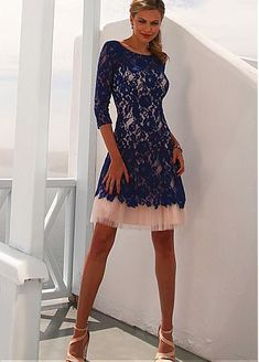 [123.89] Surprising Lace & Tulle Jewel Neckline Short A-line Homecoming Dresses - dressilyme.com