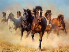 'A Drove of Horses' - artist not listed