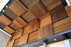 Laudescher I suspended ceiling manufacturer - suspended ceiling – wall cladding – wood ceiling – timber ceiling – Timber open-work façade – ceiling conception Wood Ceiling Panels, Bamboo Ceiling, Timber Ceiling, Ceiling Cladding, Wooden Ceilings, Modern Ceiling, Wooden Cladding, Timber Battens, Ceiling Installation