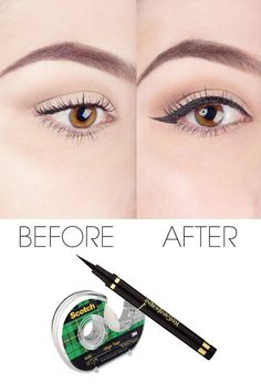 How to get the perfect liquid eyeliner look using scotch tape;